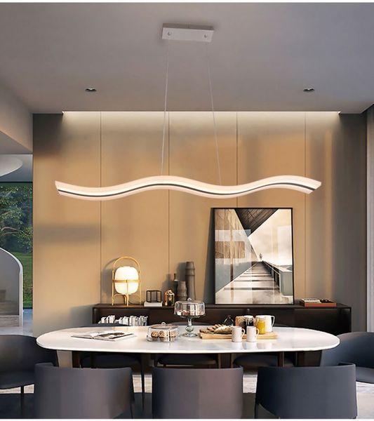 Acheter Odm Oem Dimmable Luminaire Moderne Lustre Moderne Vague Led Suspension Pendant Pour Salon Contemporain Salle A Manger Cuisine De 106 14 Du