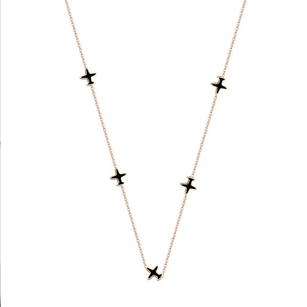 Titanium steel jewelry wholesale explosion models 5 aircraft black necklace women's Korean version of the rose gold aircraft necklace