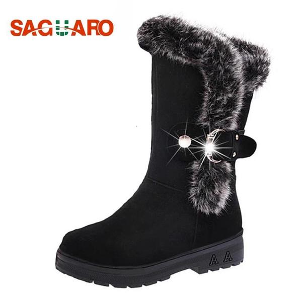 Winter Boots Women 2019 Fashion Black Shoes Women Fur Warm Mid Calf Buckle Snow Boots Platform Shoes botas zapatos mujer