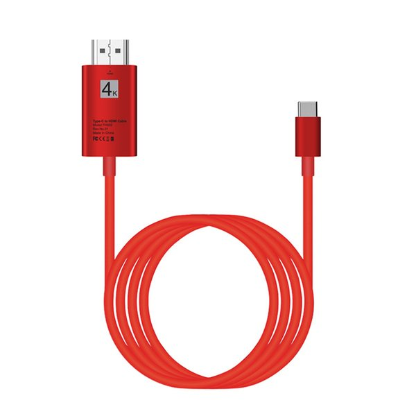Type C to HDMI Adapter 4K USB Type-C 2m 6FT 3.1 Male to HDMI Male Converter HDTV For MacBook Pro For Surface Book Samsung S9 Huawei Xiaomi
