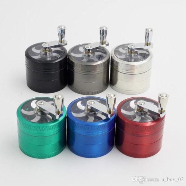 top popular tobacco grinder 56mm 4 layers Zicn alloy hand crank tobacco grinders metal grinders for herbs herbal grinders for tobacco IN STOCK 2021