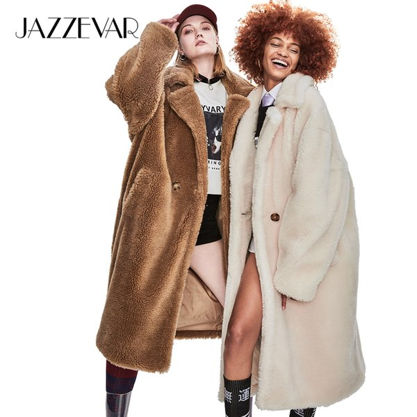 JAZZEVAR 2019 Winter New High Fashion Womens Teddy Bear Icon Parka X-Long Oversized Coat Thick Warm Outerwear Loose Clothing SH190913