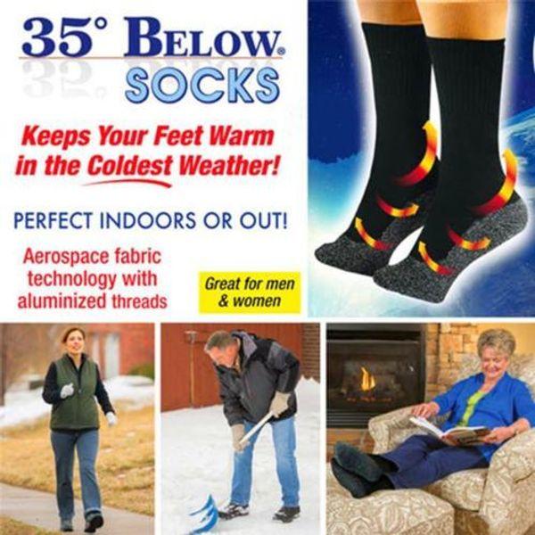 2pcs / paire 35 ci-dessous chaussettes chaussettes en fibres aluminées gardez vos pieds au chaud et au sec chaussettes chaudes unisexes avec le paquet op