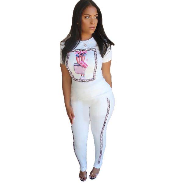 Bayan Yaz Tasarımcı Moda Sevimli 2 Adet Suit Ekip Boyun Kısa Kollu Resimleri Baskı Moda Seksi Tatlı Giyim
