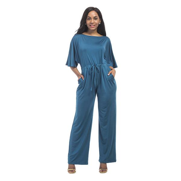 Sommer Mode Neue Frauen Overall Einfarbig Lose Beiläufige Breite Beinhosen Größe Kurzarm Overall Hosen