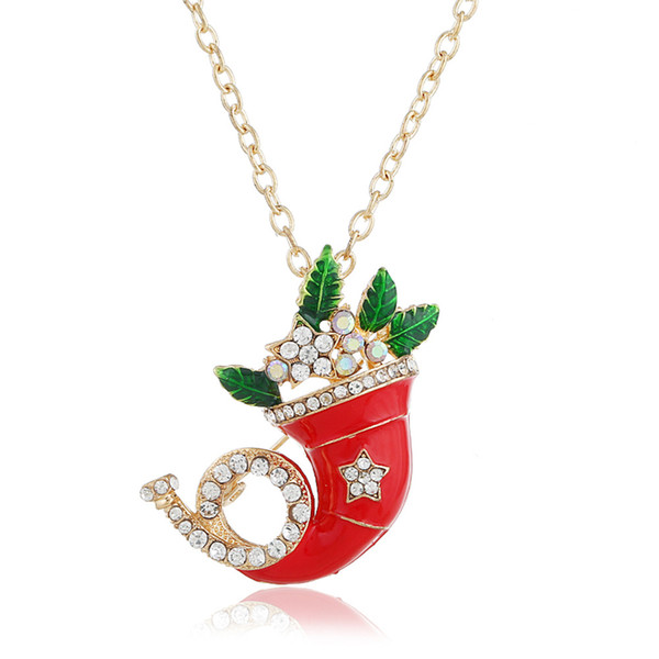 Christmas Santa hat tree leaves ladies pentagonal stars diamond drop oil brooch necklace sweater chain dual-use gift
