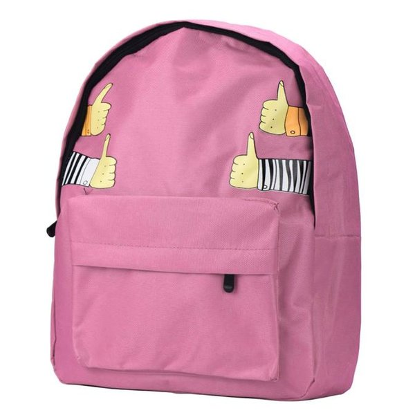 Summer Hot Pink Backpack Preppy Style Canvas Schoolbag Fashion Women Travel Backpacks Thumb up Shoulder Bags Mujer