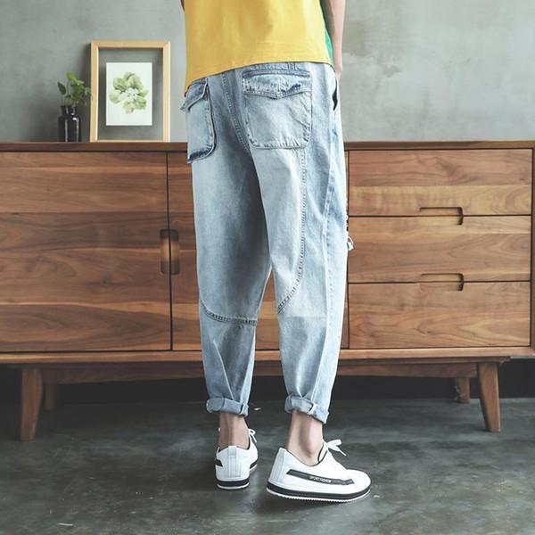 Summer Men Light Blue Harem Denim Pants Male Drop Crotch Jeans Joggers Boyfriends Ankle Length Ripped Sagging Trousres B80606