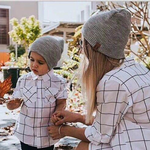 INS Hot Unisex Christmas Hat Autumn and Winter Parent Child Mom Hat Set Ponytail Beanie Fashion Hats Wool Skully Beanies for Men