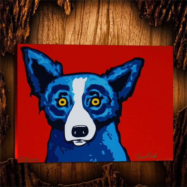 Oil Painting HD Print on Canvas Home Art Wall Decor Animals Blue Dog 24x32