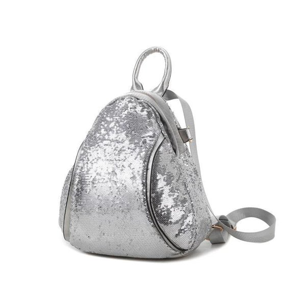Sequins Deco Luxury Women Bagpack Pu Leather Women Backpack Elegant Shinny Flashing Style Female School Bag Silver / White