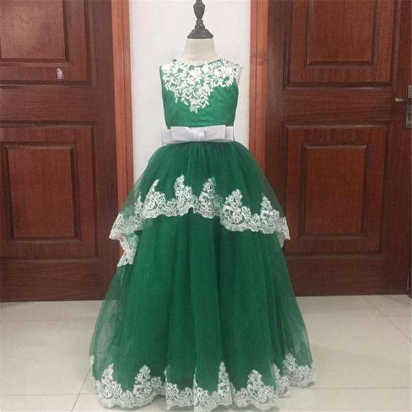 Горячие платья первого причастия аппликации о-образным вырезом без рукавов бальное платье с скользящим шлейфом Платья для девочек-цветочниц на свадьбу Свадебные платья
