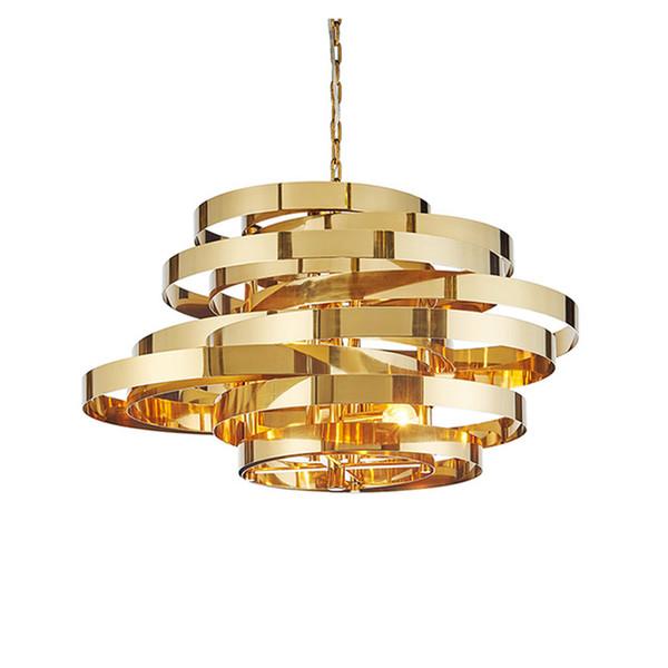 Post modern Art Deco Tornado LED pendant light stainless plating gold circle deisgn LED droplight