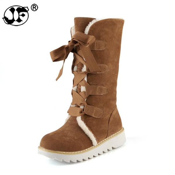 2018 large size 32-43 lace up 5 colors Shoes Women Add Warm Fur Platform winter Shoes woman snow Boots plush flat heel uik90