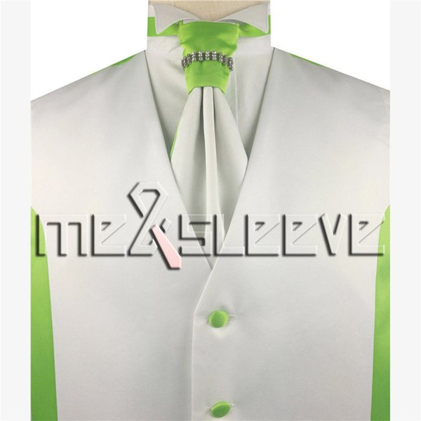 Free Shipping fashion white and lime green plain tailored Vest set 4pcs