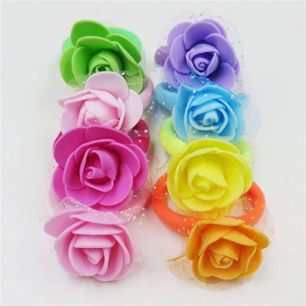 10PCS a LOT Pretty Rose Net Flower Elastic Hair Bands Toys For Girls Handmade Hair Tie Scrunchy Kids Accessories For Women