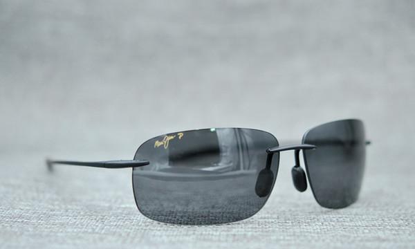 3cd60ec9a1b9 Maui Jim Breakwall 422-02 Polarized Gloss Black Rimless Frame Sunglasses  men women