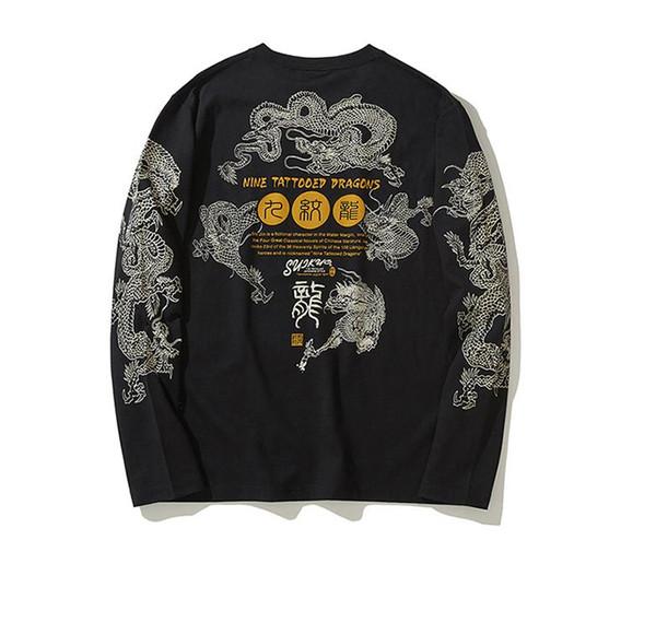 Mens Dragon Tattoo T-Shirts Dimensional Dragon Printing Cotton Long-Sleeved T Shirt Male Autumn Loose Tops Casual Tee Shirts