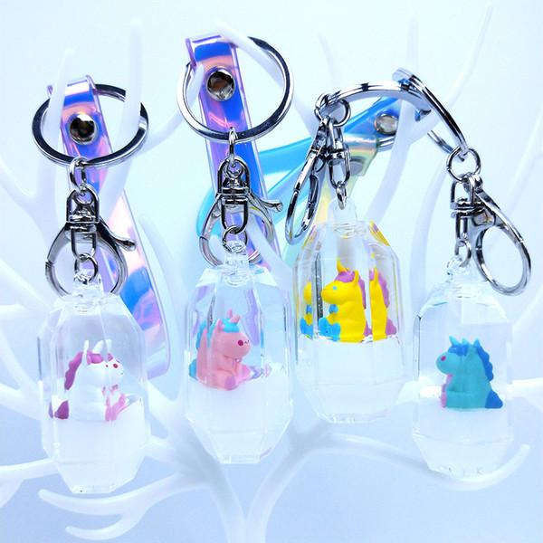 Cute Animal Unicorn Glitter Star Quicksand Keyring Drift Surf Acrylic Liquid Key Chain Bag Pendant Couples Women Keychain Gift