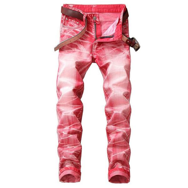 Mode Hommes Slim Fit Jambe Droite Jeans Stretch Designer Lavé Rayé Hip Hop 3D Imprimé Denim Pants Streetwear Pantalon