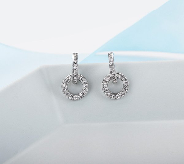 S925 Silver Needle Circle Earrings Female Temperament Geometry Earrings Personality Baitao Miniature Zircon Simple Earrings