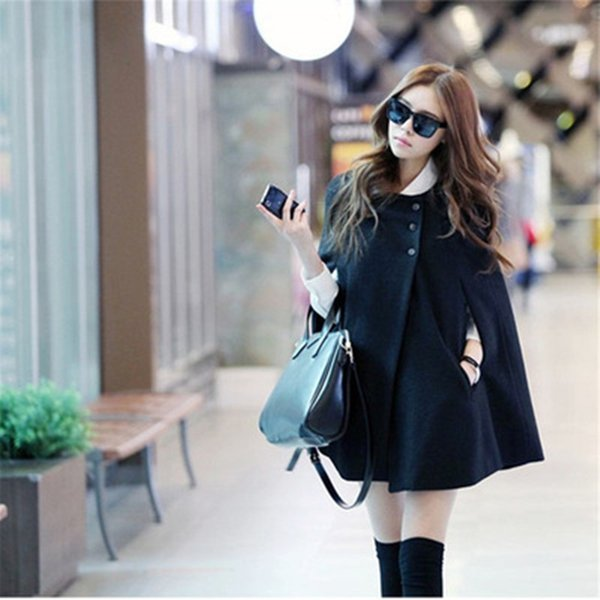 Autumn Winter Women Coat Female jacket Women Batwing Poncho Woolen Warm Coat Long Sleeve Casual Overcoat Slim feminine