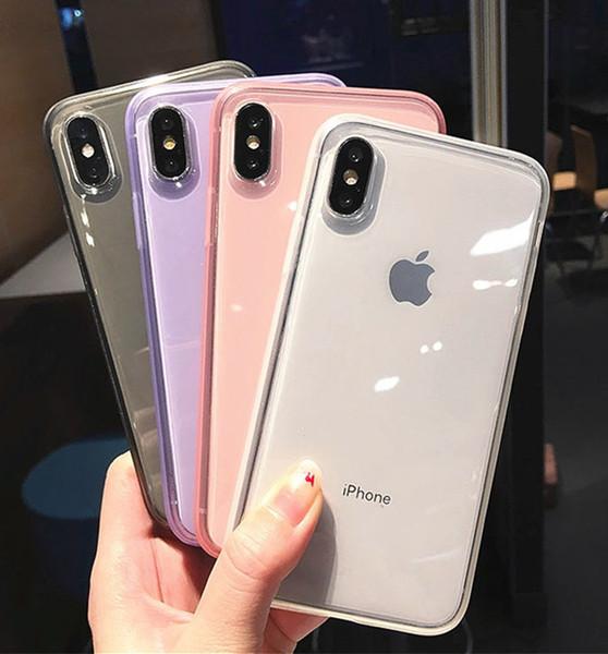 Fundas de teléfono transparentes transparentes Cubierta trasera de TPU gruesa Protector a prueba de golpes para iPhone X XR XS Max 6 6s 6plus 7 7plus 8 8plus