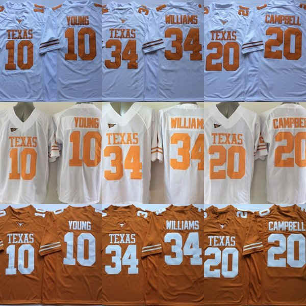 Maglie Texas Longhorns College 10 Vince Young 20 Earl Campbell 34 Ricky Williams 12 Colt McCoy 98 Brian Orakpo Maglie calcio College