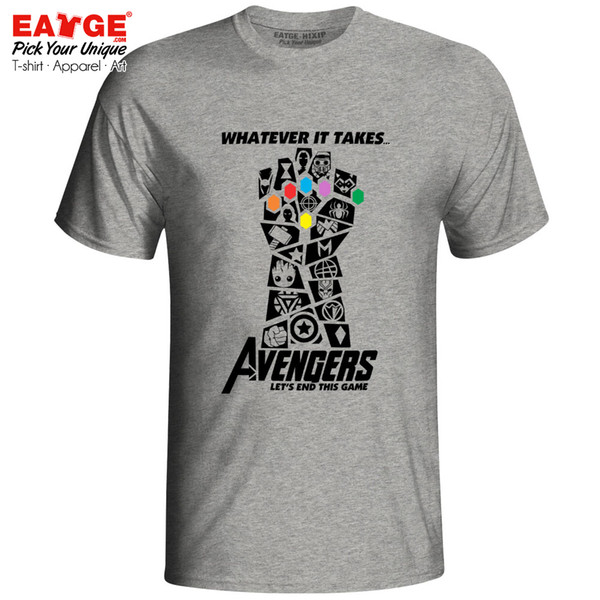 Avengers 4 Endgame T Shirt Marvelous Infinity War End Game Thanos Tshirt Novelty T-shirt Eatge Cotton White Gray Men Women Tee Y19050902