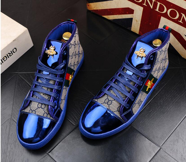 High Quality Fashion Men High Top British Style Rrivet Shoes Men Causal Luxury Shoes Red Gold Blue Bottom rubber Dress Shoes for Male 38-44
