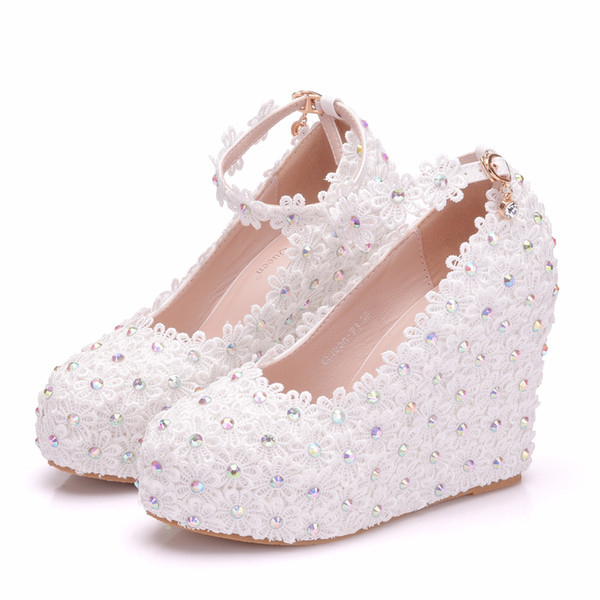 Crystal Queen Spring Qutumn Platform Wedge Pumps High Heels Flower Crystal Rhinestone Lace Wedding Shoes For Woman Dress Shoes
