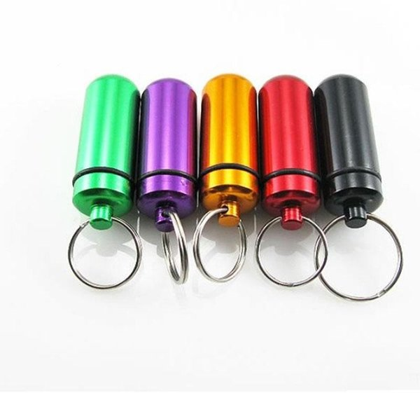 Hot new 6 color Waterproof Aluminum Medicine Pill Box Case Bottle Cache Holder Keychain Container Pill Bottle cases WCW195