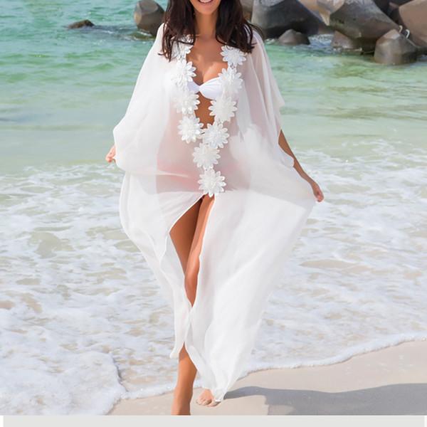 Lune de Miel Robe Plage Couvrez-vous Robe Dentelle Plage Tunique Paréos Maillots De Bain Femmes 2018 Bikini couvrent Maillot De Bain En Mousseline De Soie