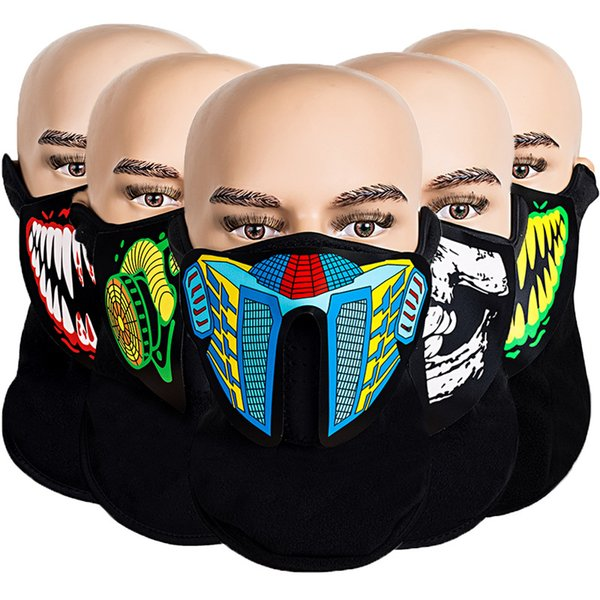 LED Halloween Masks Terror EL Cold Light Masks Glowing Voice activated Mask Cosplay LED Party Masks Led Rave Toy CCA11876 60pcs