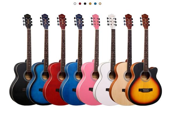 специальная 40-дюймовой полная липа угловой баллада акустической гитары светой цвета полосы практика студента гитара музыкального инструмент оптовая