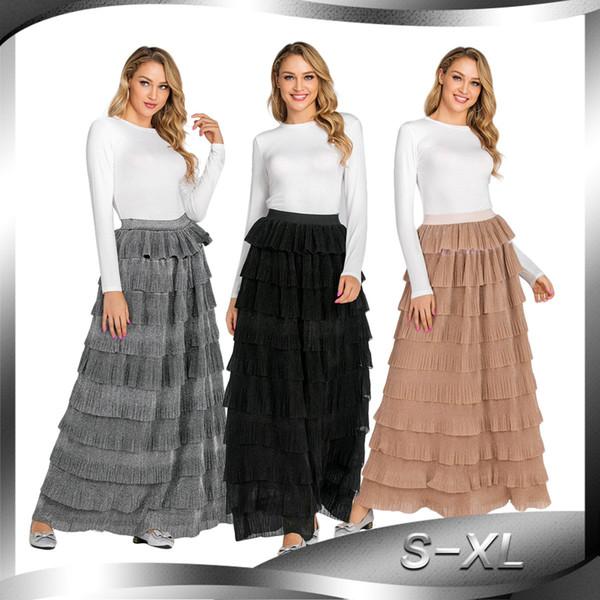 CM2238 Nuovo abito islamico turco Moda gonna musulmana Gonna lunga Gonna a pieghe a pieghe a vita alta a strati