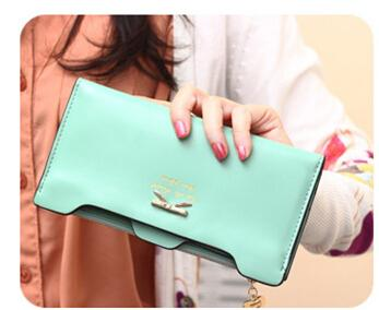 sweet The new Korean version of sweet and cute bow style lady long wallet card wallet