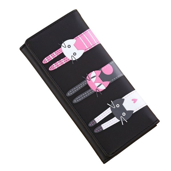 Las carteras de las mujeres de la señora monederos bolsos monedero de la marca de diseño de Moneybags Cute Cat Girls largo Embrague Monedero Tarjetas Id titular Holse bolsa