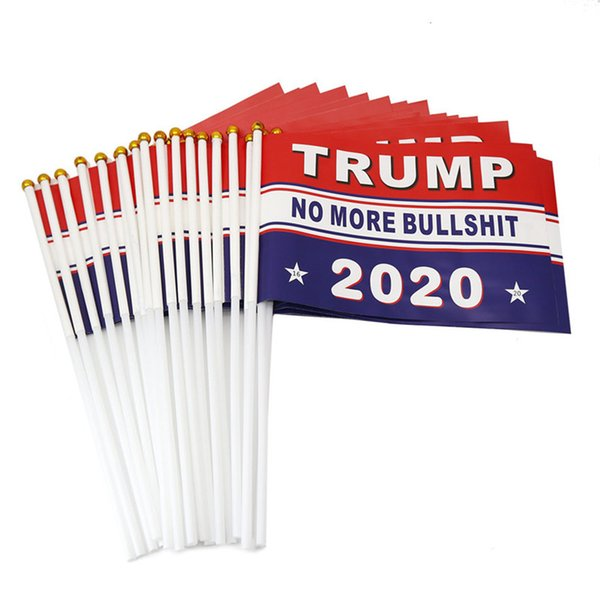 top popular 2020 Donald Trump Handhold American Flags Keep America Great Banner Flags USA President 14*21cm Paper waterproof hand waving flag Toys E3307 2021