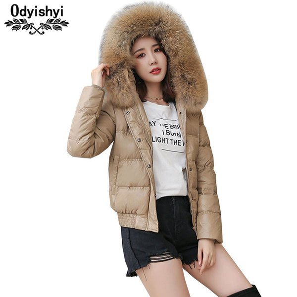 2018 Winter Jacket Women Hooded Down Coat Parkas Warm Coats Bright Slim Outerwear Real Fur collar Large size Short Jackets HS523