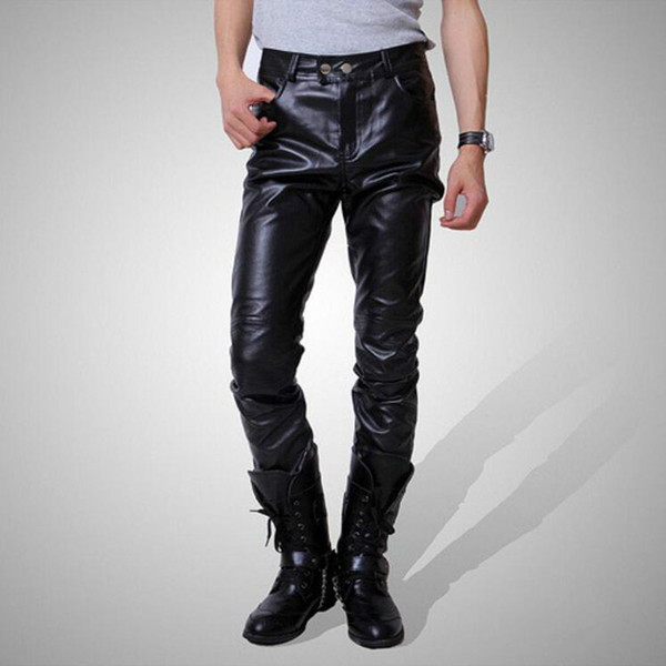 Black Gold Silver Men Casual PU Leather Pants Buttons Slim Fit Tights Hip Hop Punk Motorcycle Pants Fashion High Street Trousers