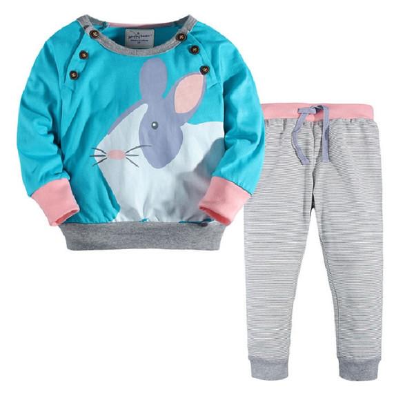 2019 девочка одежда костюм весна осень дети наряды 100% хлопок Кролик девушки толстовка брюки 2-7 Т дети комбинезон блузки