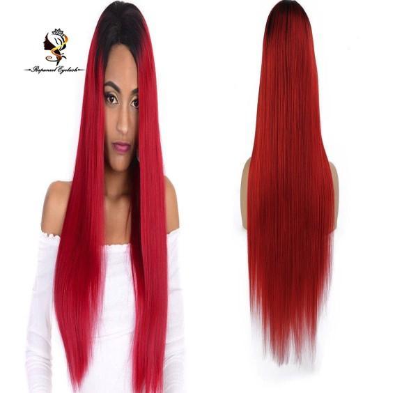 Два тона # 1B / красный парик человеческих волос темные корни полный цвет парики шнурка с волосами младенца
