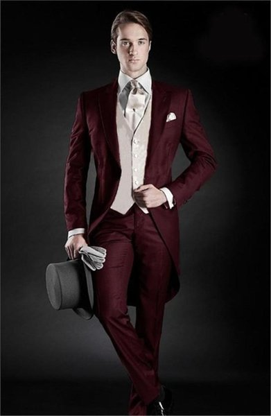 2019 Morning Style Groom Tuxedos Peak Lapel Men's Suit Burgundy Groomsman/Best Man Wedding/Dinner Suits(Jacket+Pants+vest+tie)