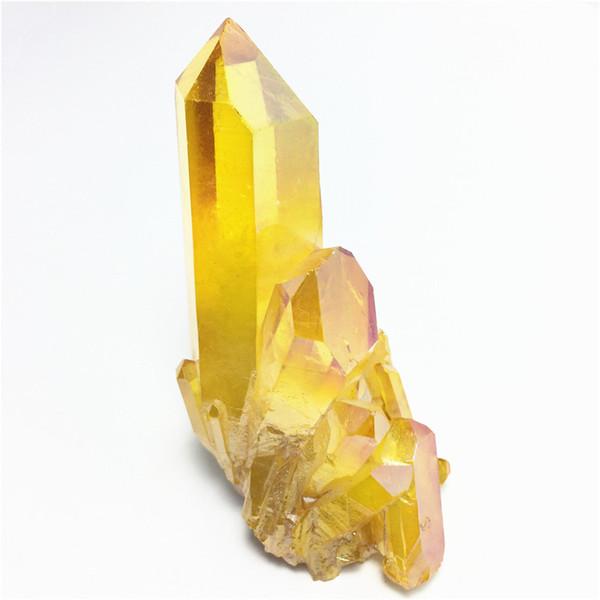 217g Yellow Aura Crystal Angel Aura Titanium Quartz Crystal Cluster Specimen Minerals Reiki Healing Chakra Home Decoration Free Shipping