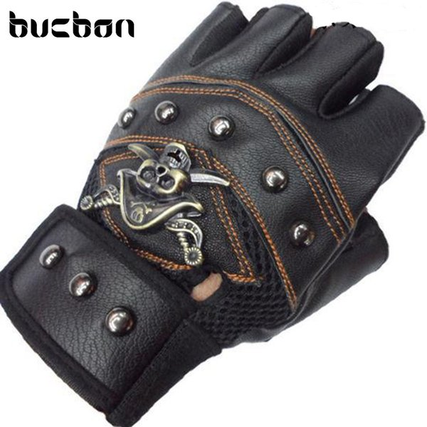Hot Sale Fitness Gloves Gym Tactical Leather Gloves Men Half Finger Skull Sport Black Workout Motorcycle AGL006