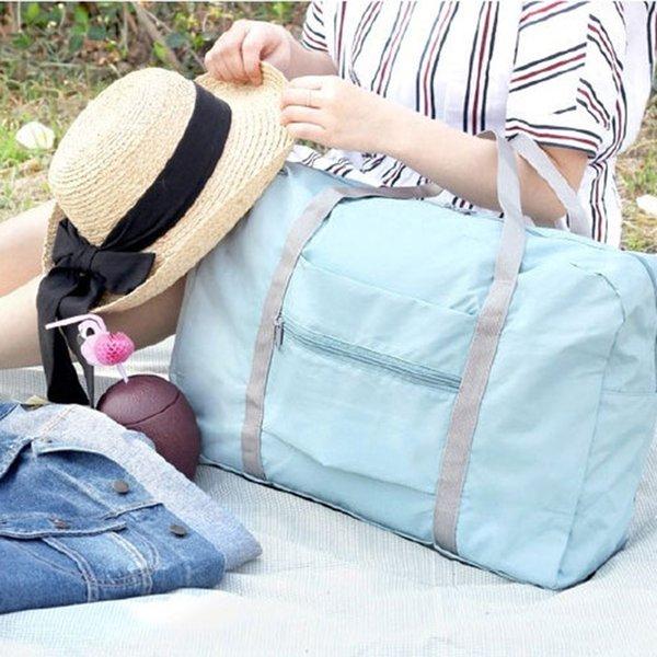 Bolsa de viaje Hombres de gran capacidad Plegable Impermeable Equipaje de mano Bolsas de lona de viaje de nylon Bolsas de fin de semana unisex Multifuncionales