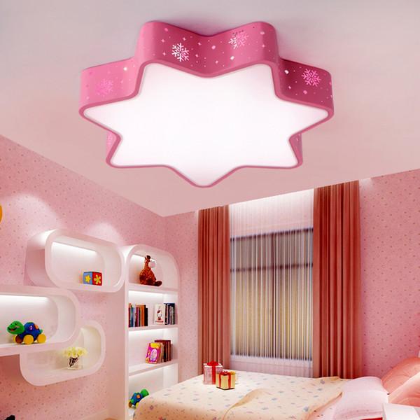 Modern oco de ferro estrelas quarto das crianças LEVOU instalação de luz de teto para casa deco sala de jantar da criança rosa neve acrílico lâmpada do teto