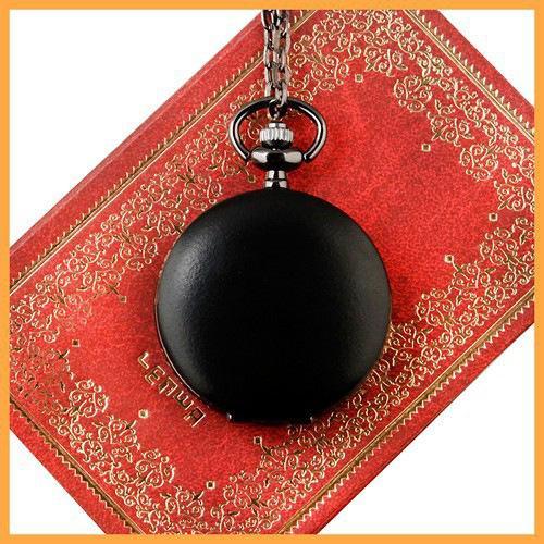 Moda Clássica de Luxo chumbo preto fosco relógio de bolso retro colar de quartzo neutro colar de pingente decorativo relógio