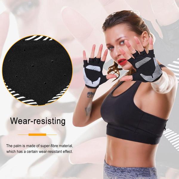 BOODUN 1 Çifti Kadınlar Eldiven Fitness Spor Yarım Parmak Eldiven Yoga Spor Halter Nefes Yarım Parmak